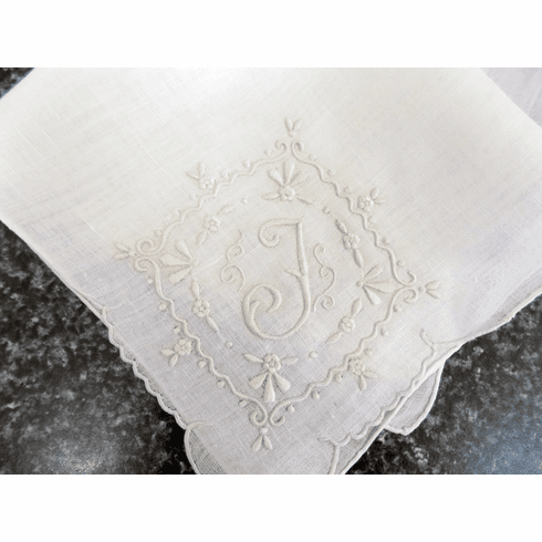 "Vintage Handkerchief White Linen Large Fancy ""F"" Monogrammed Scalloped Corner #HAN040"