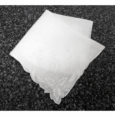 "Vintage Handkerchief White Linen Large Fancy ""S"" Monogram #HAN033"