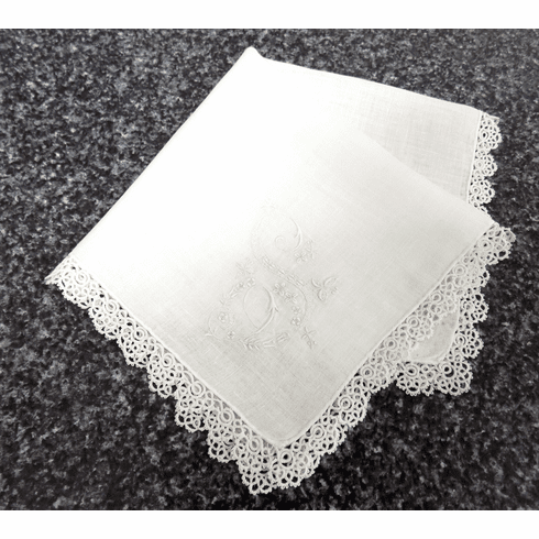 "Vintage Handkerchief White Linen Large Fancy ""S"" Monogrammed Tatted Lace Edge #HAN038"