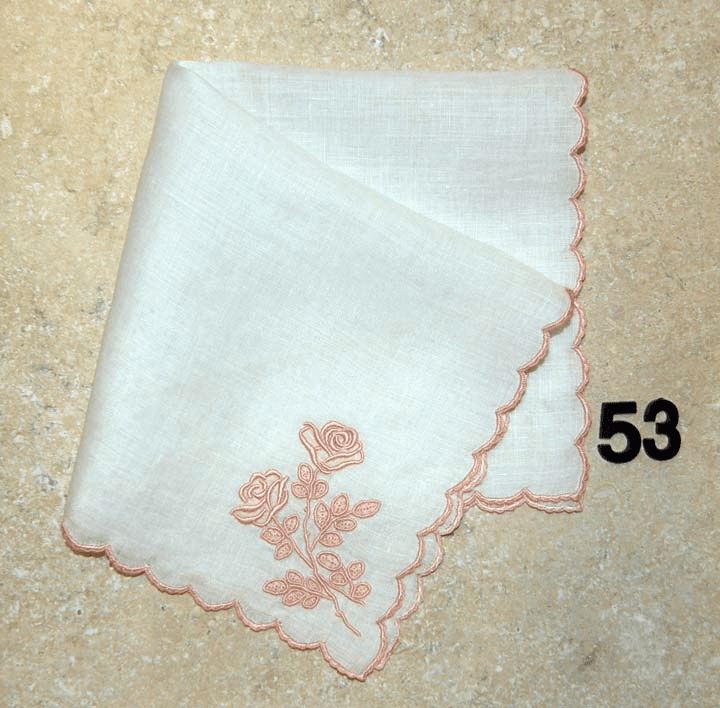 Vintage Handkerchief White Linen Mauve/Rose Gold Floral Design with Satin Stitched Scalloped Edges #53