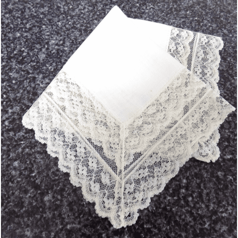 Vintage Handkerchief White Linen with 2-1/2 Inch Double Lace Edge Lace #HAN043
