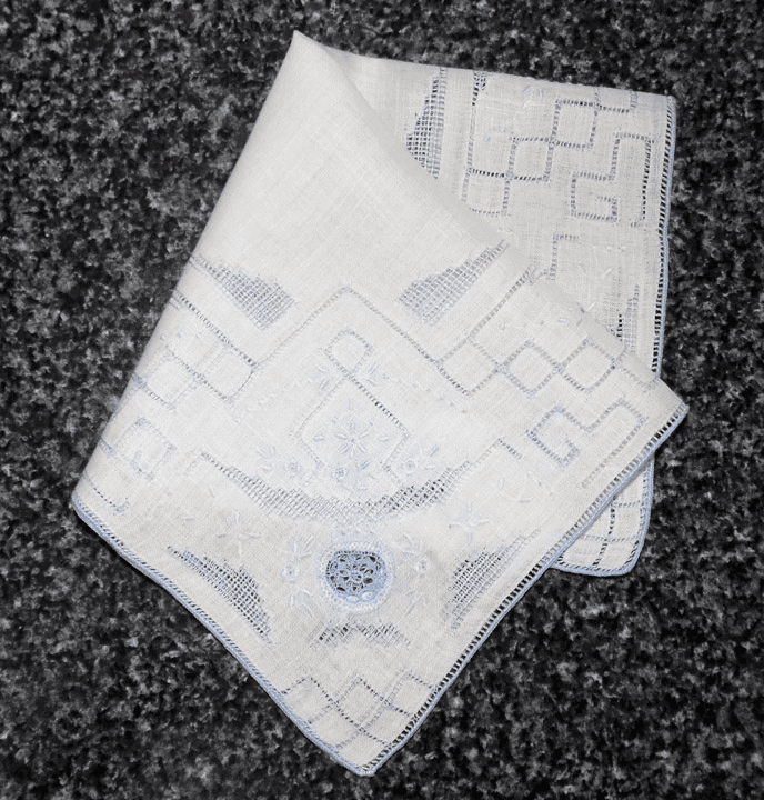 Vintage Handkerchief White Linen With Blue Elaborate Asian Inspiration Four Corner Design #HAN026