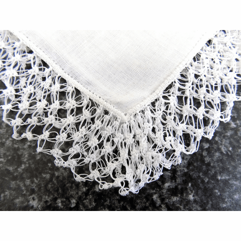Vintage Handkerchief White Linen with One Inch Wide Knotted Crochet Lace #HAN042
