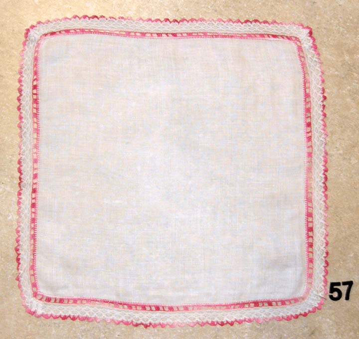 Vintage Handkerchief White Linen with Pink Crocked and White Lace Edges #57