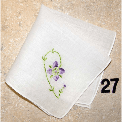 Vintage Handkerchief White Stitched Edge Hand Embroidered Purple Variegated Flower with Green Stems Design #27