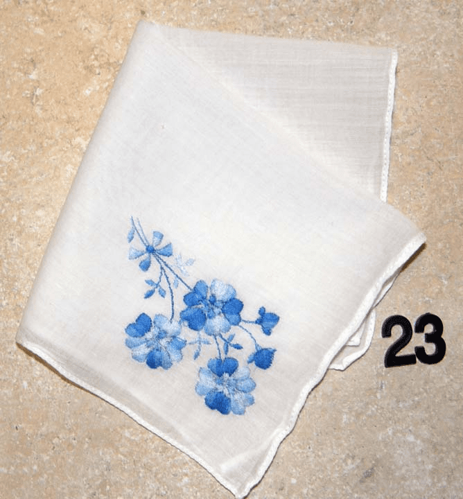 "Vintage Handkerchief White w/Blue ""Something Blue"" Embroidered Flower Design #23"