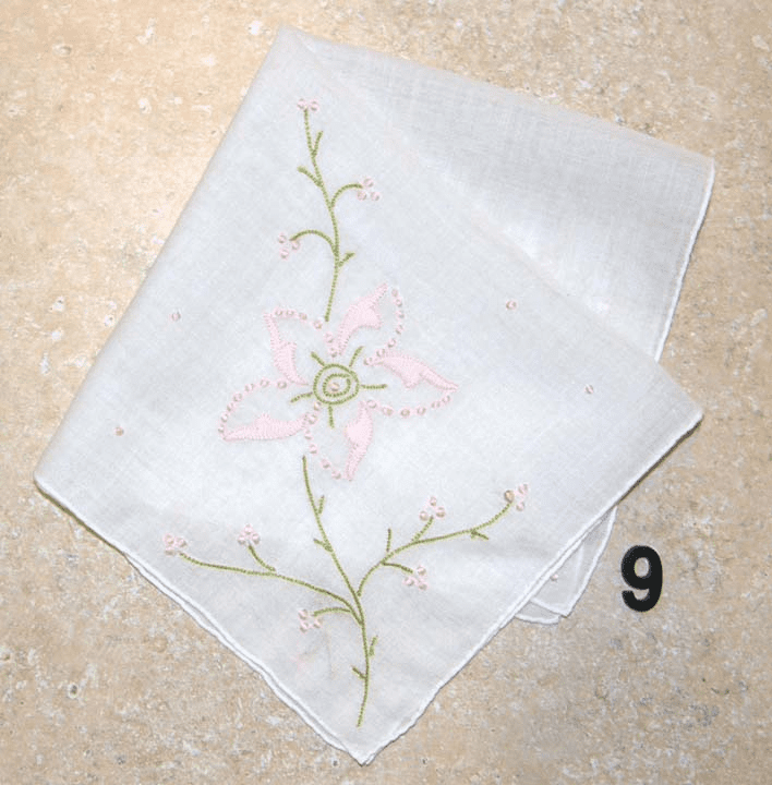 Vintage Handkerchief White w/ Hand Sewn Pink Applique Floral Four Corners Design #9