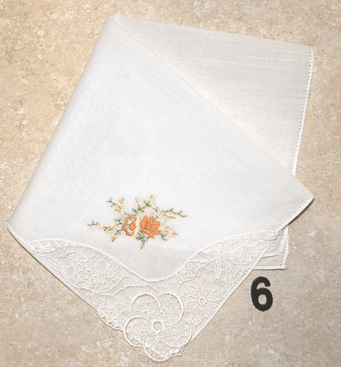 Vintage Handkerchief White w/ Lace Corner and Hand Embroidered Floral #6