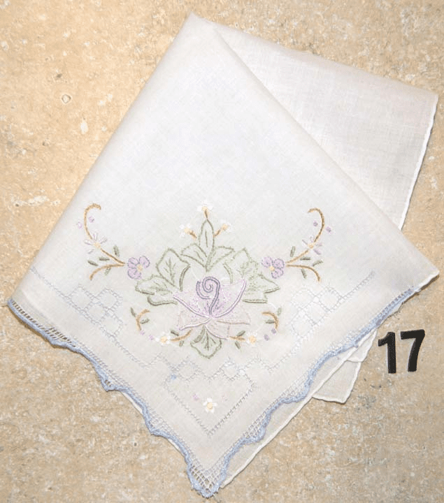 Vintage Handkerchief White w/Lavender Floral Design & Drawnwork Hand Embroidered #17