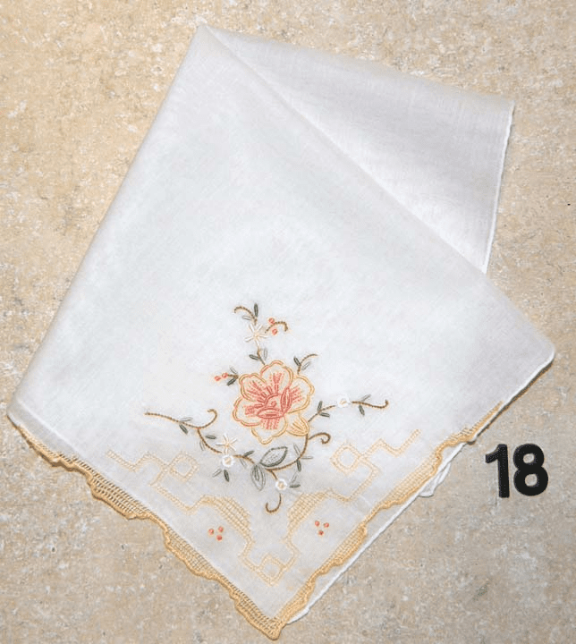 Vintage Handkerchief White w/Orange Floral Design & Drawnwork Hand Embroidered #18