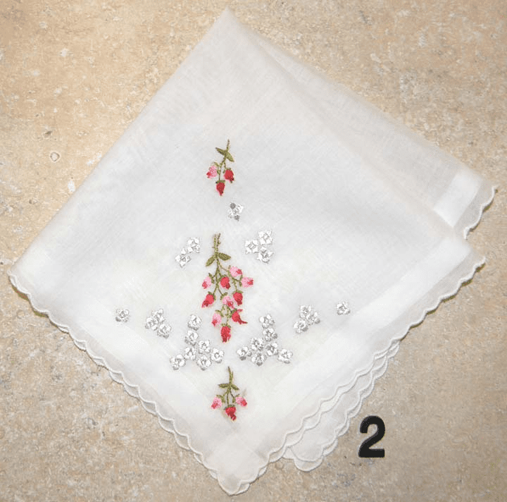 Vintage Handkerchief White w/ Pink & Red Embroidered Roses and Silver Flower Accents #2