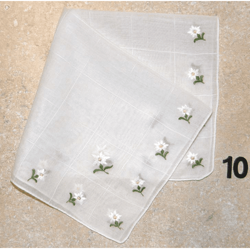Vintage Handkerchief White w/ White Daisys Four Edges Design #10