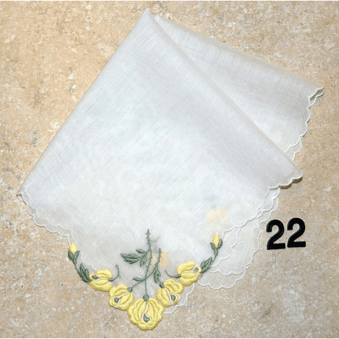 Vintage Handkerchief White w/ Yellow Embroidered Four Corner Flower Design #22
