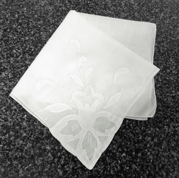 Vintage Handkerchief White Wedding Cotton Large Applique Lily Corner Design #HAN031