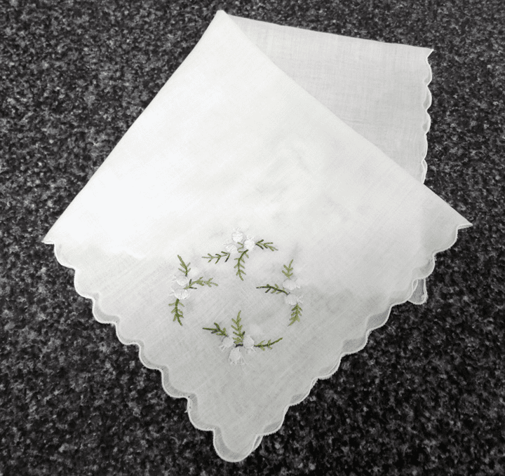 Vintage Handkerchief White Wedding Cotton Lovely Light Blue Lily Bell 4 Corner Design #HAN032