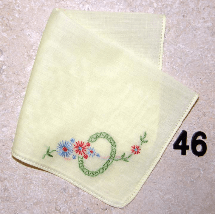 Vintage Handkerchief Yellow Cotton Hand Embroidered Floral Design #46