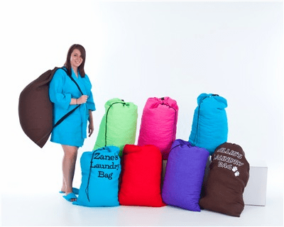 Waffle Weave- Laundry Bags with Shoulder straps Assorted Colors Personalize Me