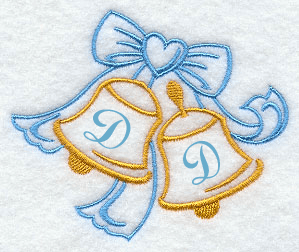 Wedding Bells Handkerchief Embroidery Design hank25