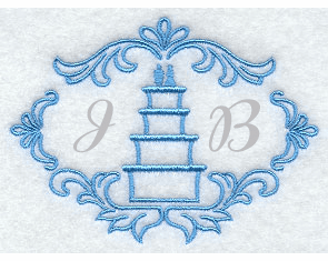 Wedding Cake Handkerchief Embroidery Design hank23