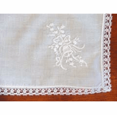 Wedding Handkerchief White Embroidery Wedding Bell Personalize Me