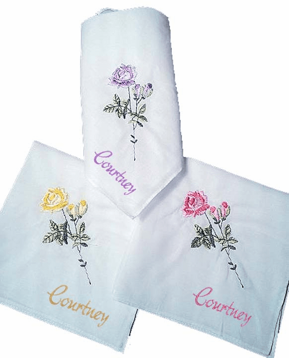White 100% Cotton Ladies Handkerchief Beautiful Rose Embroidery