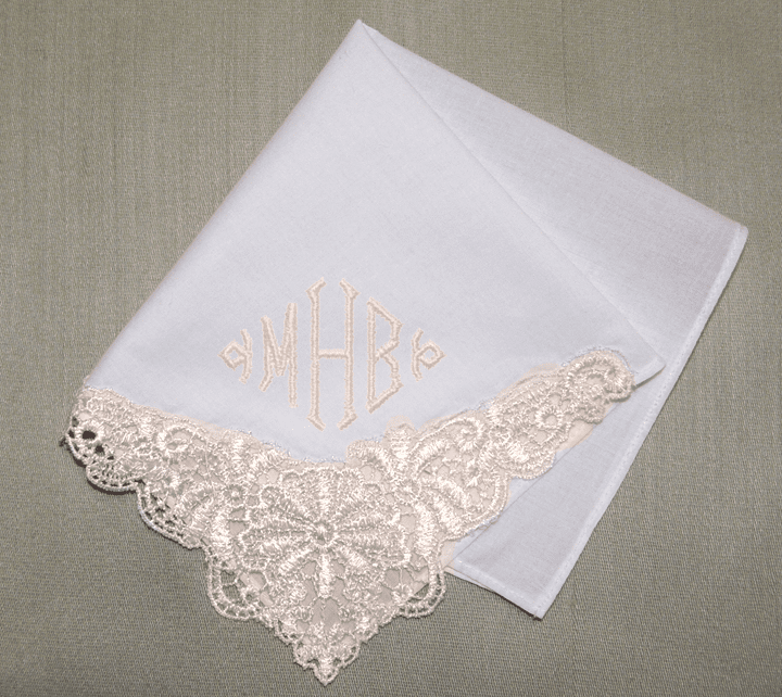 White & Bridal Ivory Guipure Lace Ladies Wedding Handkerchief