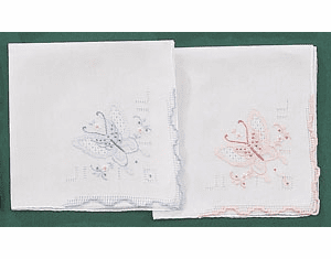 White Butterfly Embroidered Handkerchief Pink or Blue Scalloped Trim