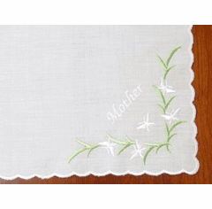 White Cotton Embroidered Mother Handkerchief