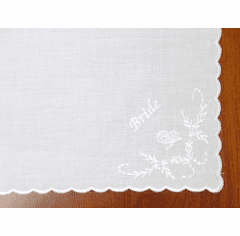 White Cotton Floral Bride Embroidered Handkerchief