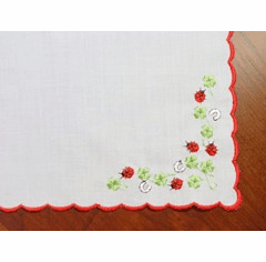 White Cotton Handkerchief Ladybugs and Horseshoes Design