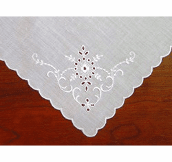 White Cotton Handkerchief Swiss Embroidery with Cutwork