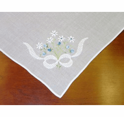 White Cotton Handkerchief with Blue Floral Knot Design
