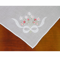 White Cotton Handkerchief with Pink Floral Knot Design