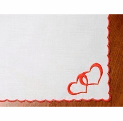 White Cotton Handkerchief with Red Scalloped Edges and Embroidered Hearts