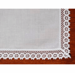 White Cotton Lace Trimmed Handkerchief