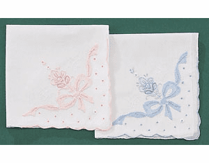 White Cotton Ladies Handkerchief w/ Madeira Bowknot Pink or Blue