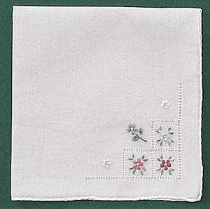 White Cotton Ladies Handkerchief with Floral Embroidered Corner
