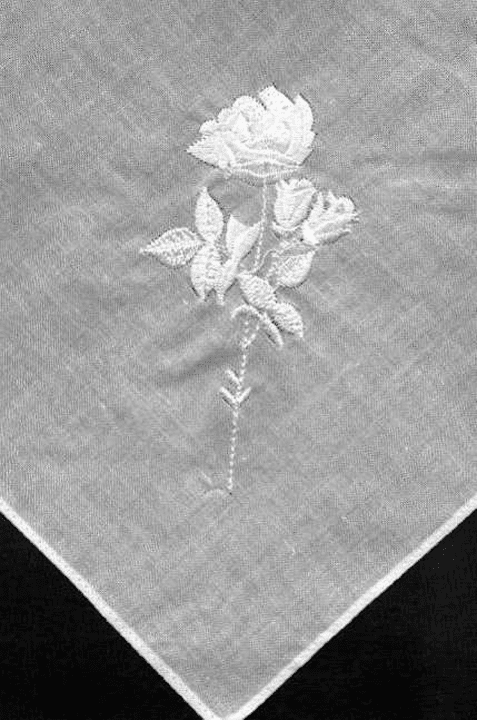 White Delicate 100% Cotton Embroidered White Rose Ladies Handkerchief
