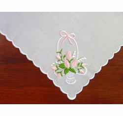White Embroidered Cotton Ladies Handkerchief Pink Rose Basket Design