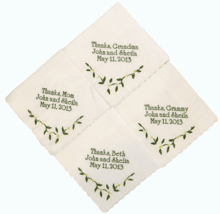 White Embroidered Custom Luncheon Gift Handkerchiefs