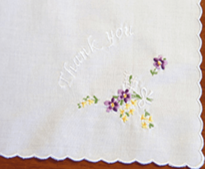 White Floral Embroidered Thank You Handkerchief