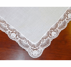 White Floral Guipure Lace Elegant Wedding Handkerchief