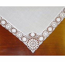 White German Guipure Lace Stunning Wedding Handkerchief