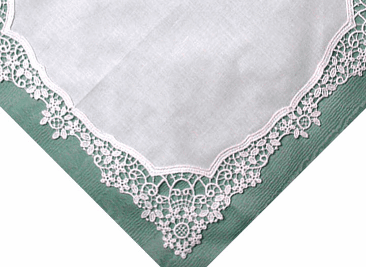 White German Guipure Lace Wedding Special Occasion Handkerchief