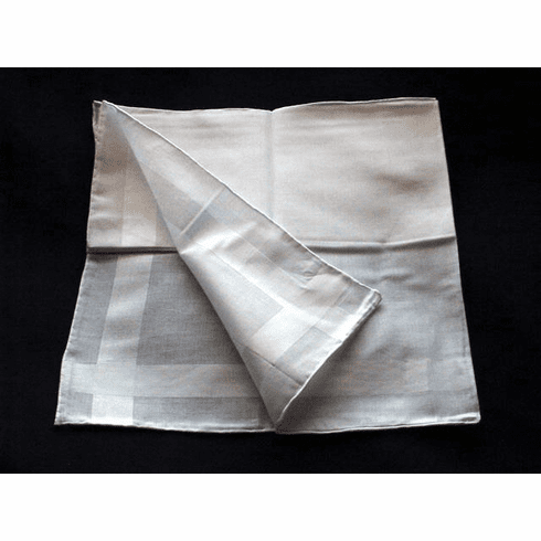 White Hand Finished Satin Striped Mens Handkerchiefs