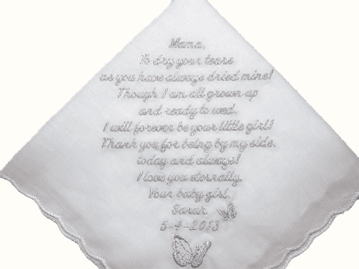 White Lace Ladies Handkerchief with Wedding Poem