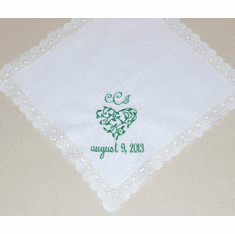 White Lace With Embroidered Green Celtic Heart Wedding Handkerchief