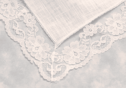 White Linen Bridal Dress Lace Handkerchief