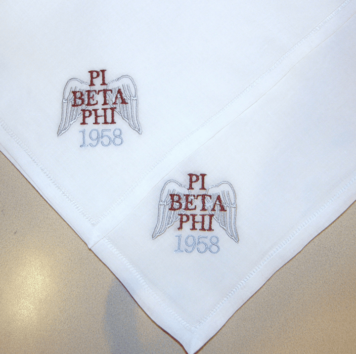 White Linen Ladies Sorority Handkerchief Custom Made
