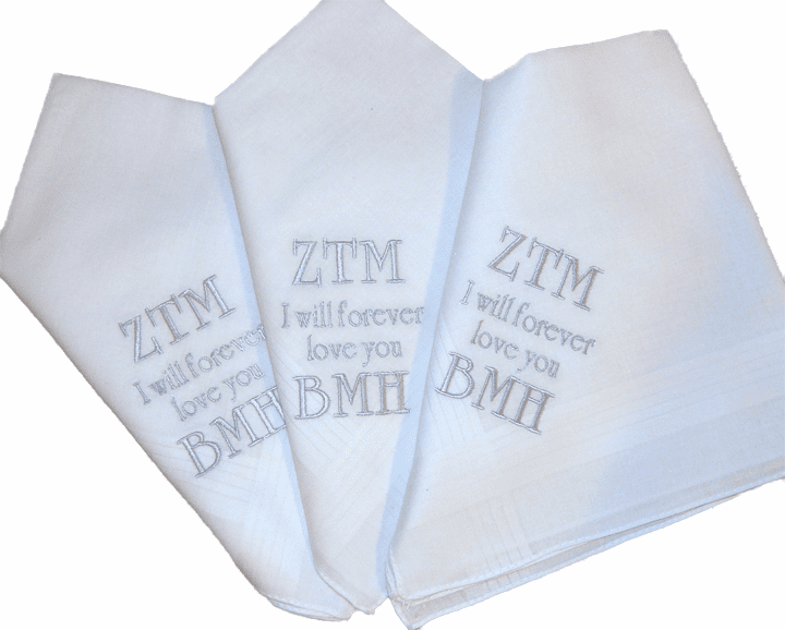 White Linen Men's Personalized Handkerchief